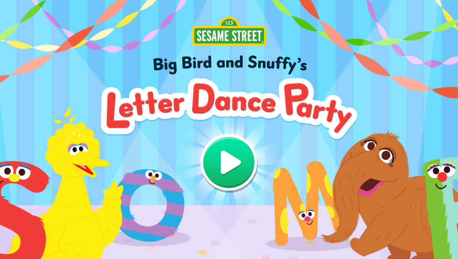 Sesame Street Big Bird and Snuffy's Letter Dance Party Game Welcome Screen Screenshot.