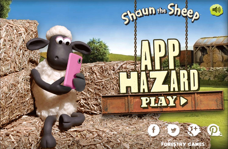 Shaun the Sheep App Hazard 2 Game Welcome Screen Screenshot.