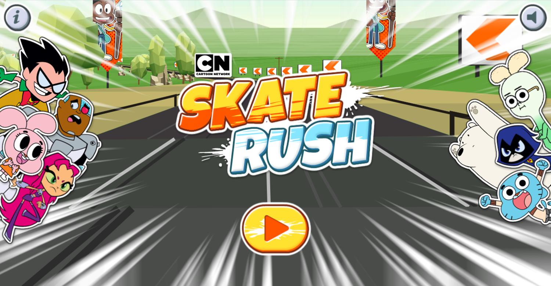 Skate Rush Game Welcome Screen Screenshot.