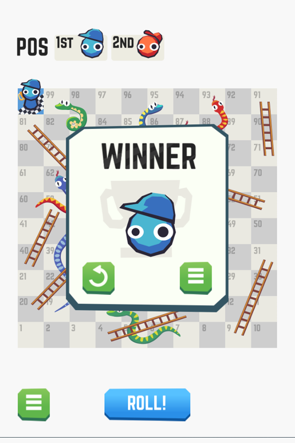 Snakes and Ladders Win Screenshot.