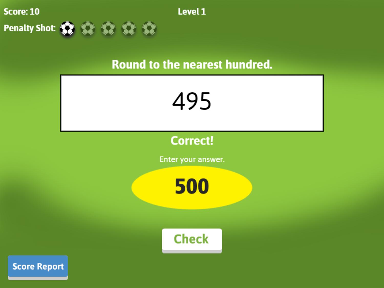 Soccer Math Rounding Game Correct Answer Screenshot.