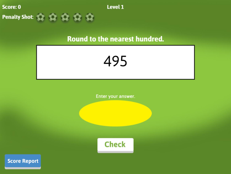 Soccer Math Rounding Game Equation Screenshot.
