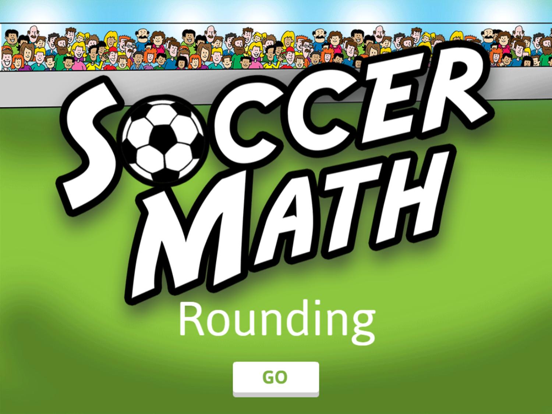 Soccer Math Rounding Game Welcome Screen Screenshot.