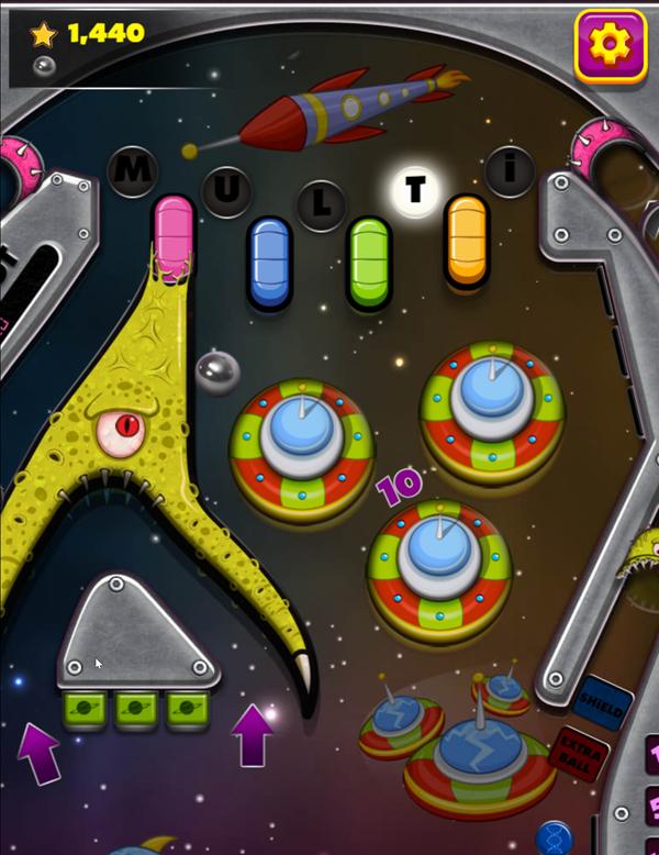 Space Adventure Pinball Game Screenshot.