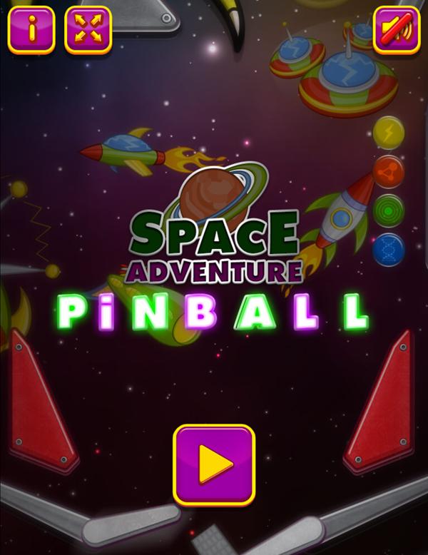 Space Adventure Pinball Game Welcome Screen Screenshot.