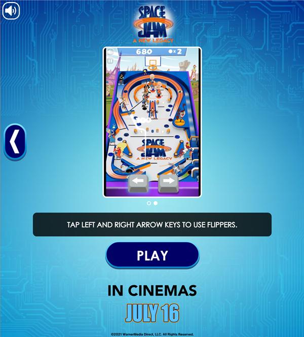 Space Jam Full Court Pinball Flipper Control Instructions Screenshot.