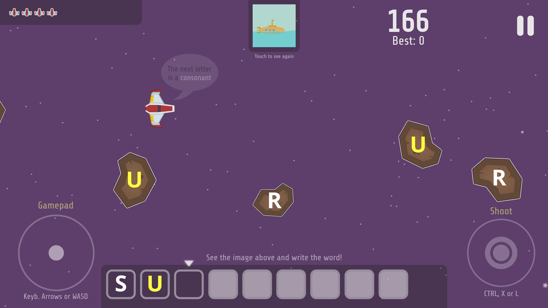 Space Words Game Screenshot.
