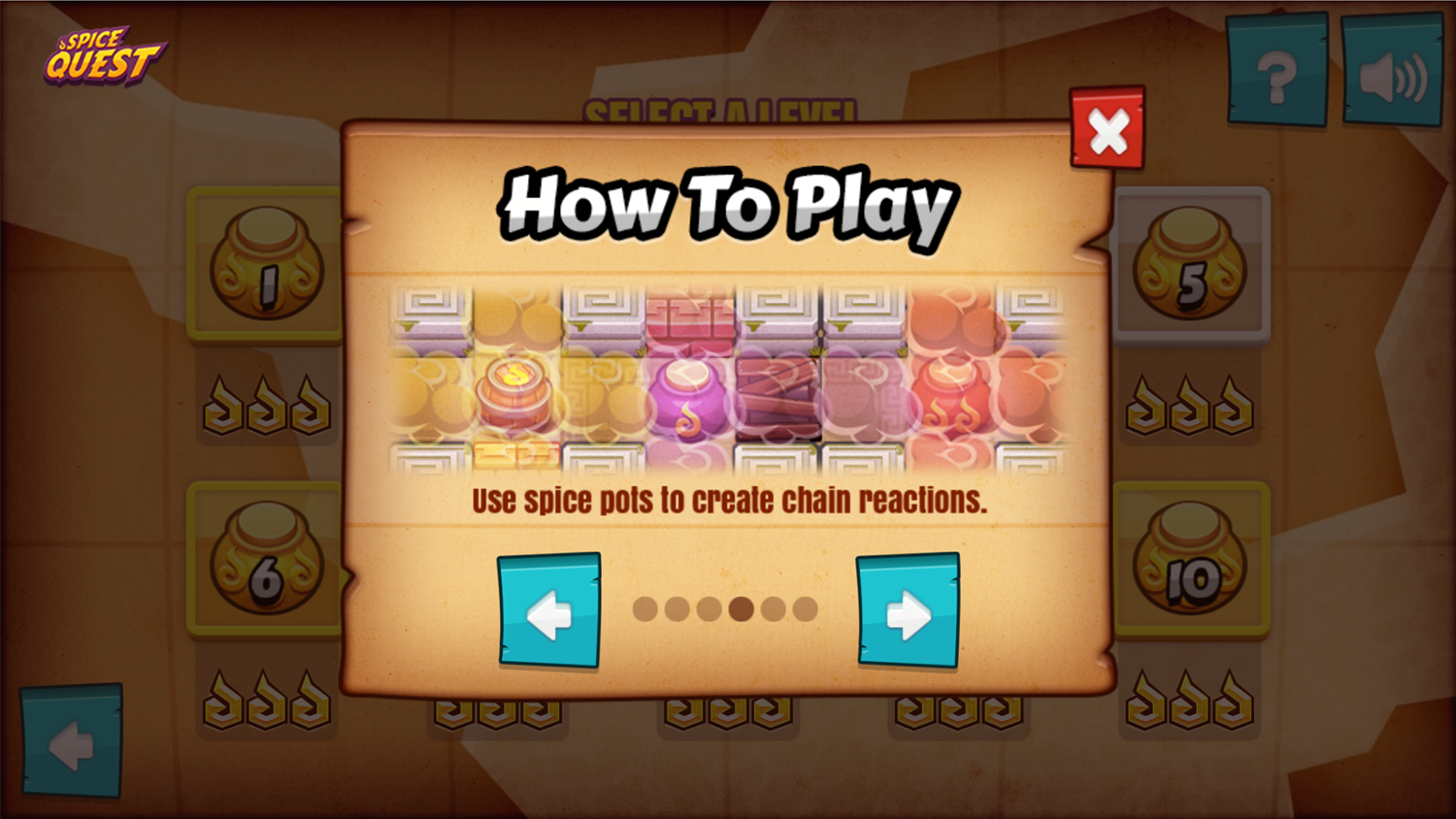 Spice Quest Game Chain Reactions Screenshot.