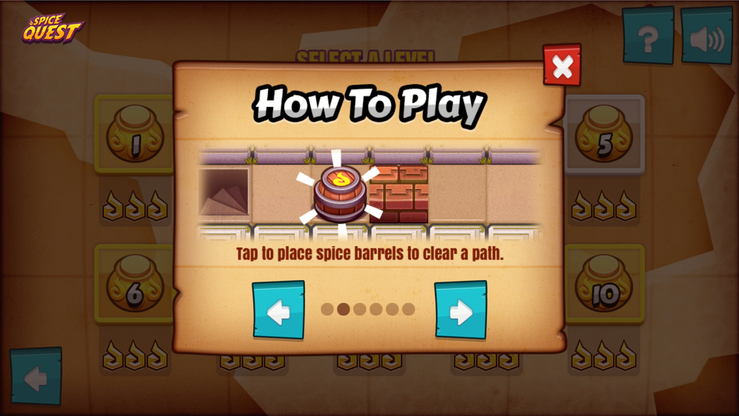 Spice Quest Game How to Play Screenshot.