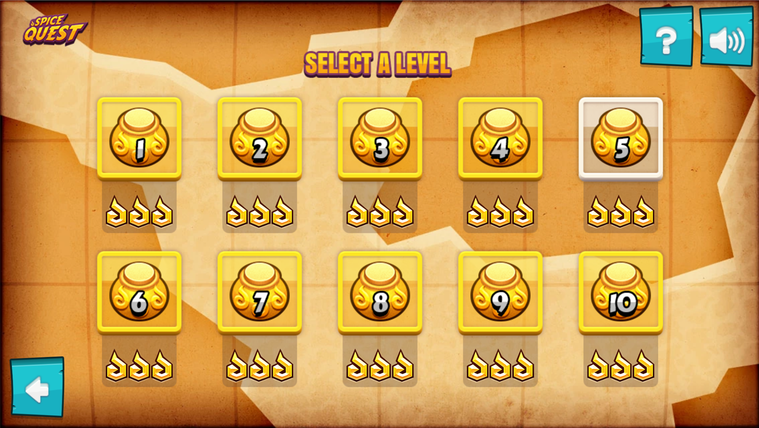 Spice Quest Game Level Select Screen Screenshot.
