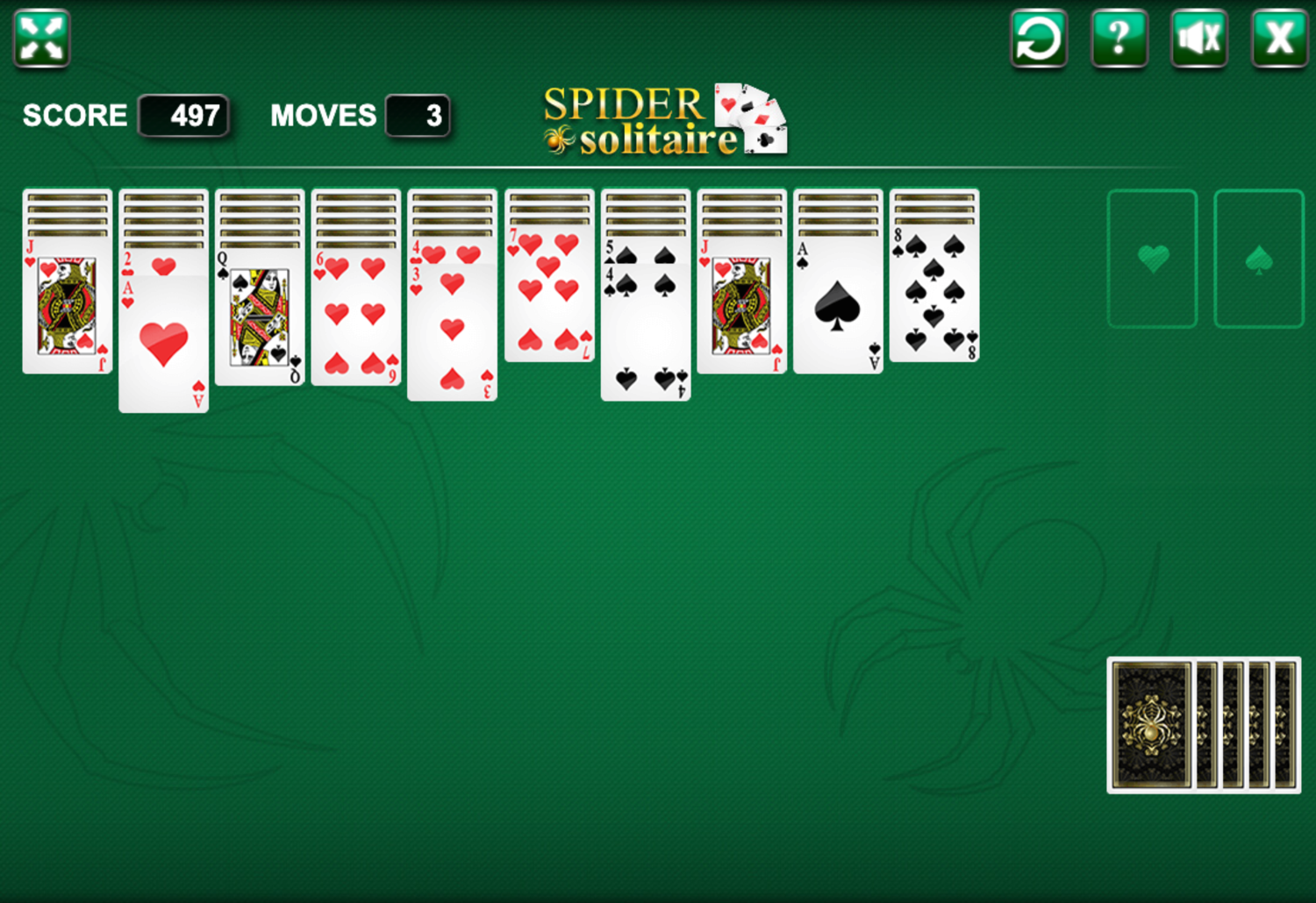 Spider Solitaire Two Suits Screenshot.