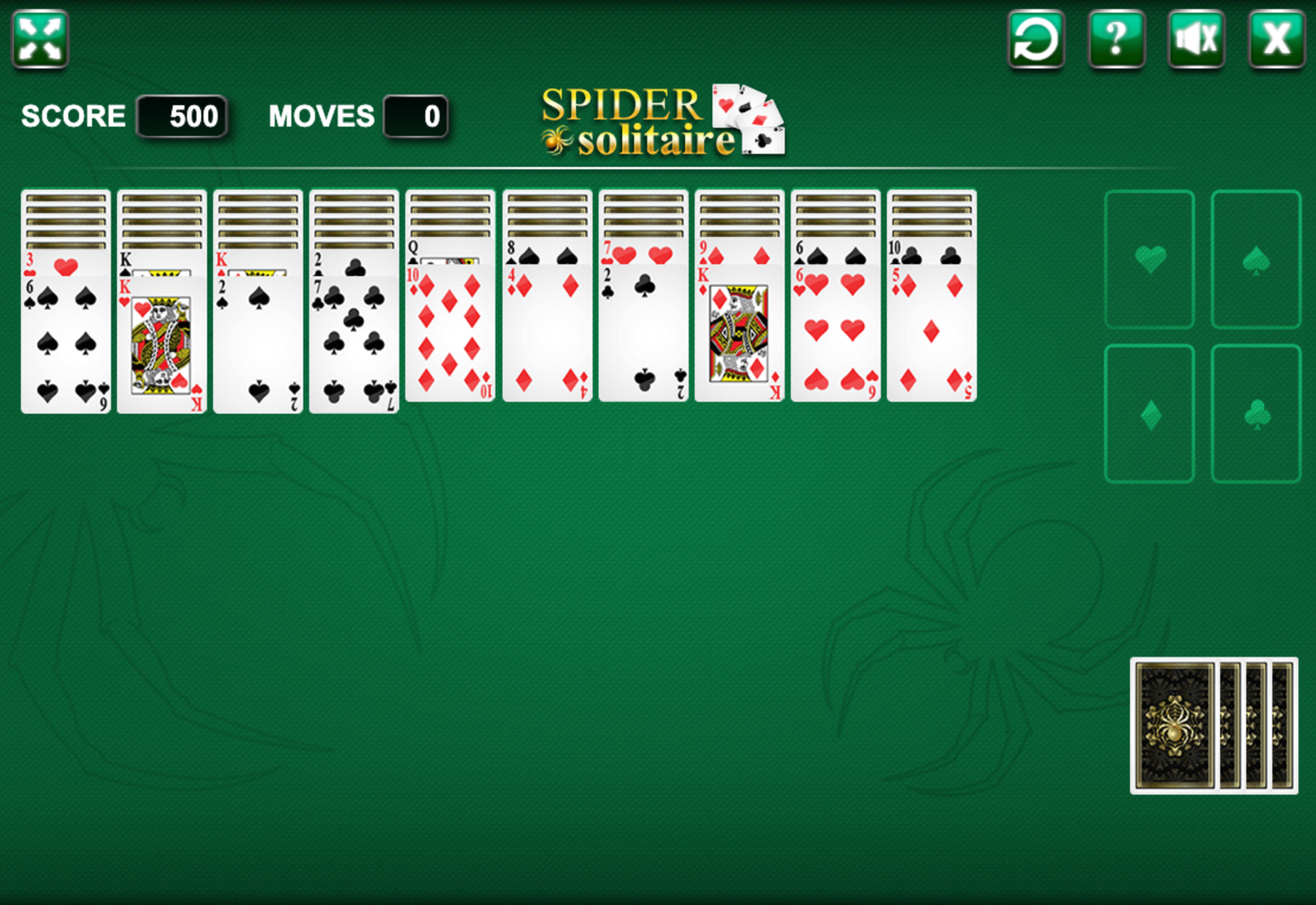 Spider Solitaire Four Suits Game Screenshot.