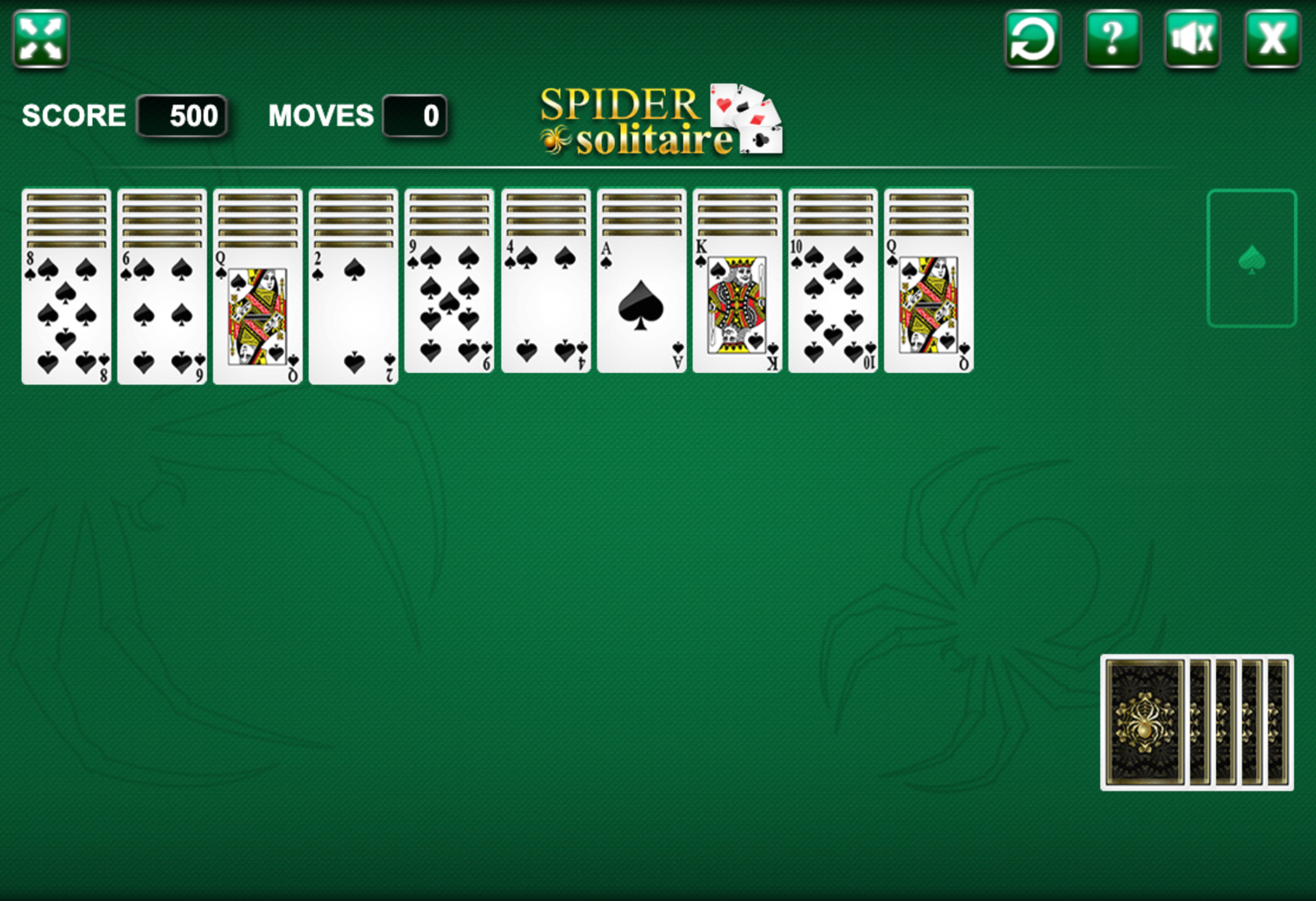 Single Suit Spider Solitaire In Play Screen Screenshot.