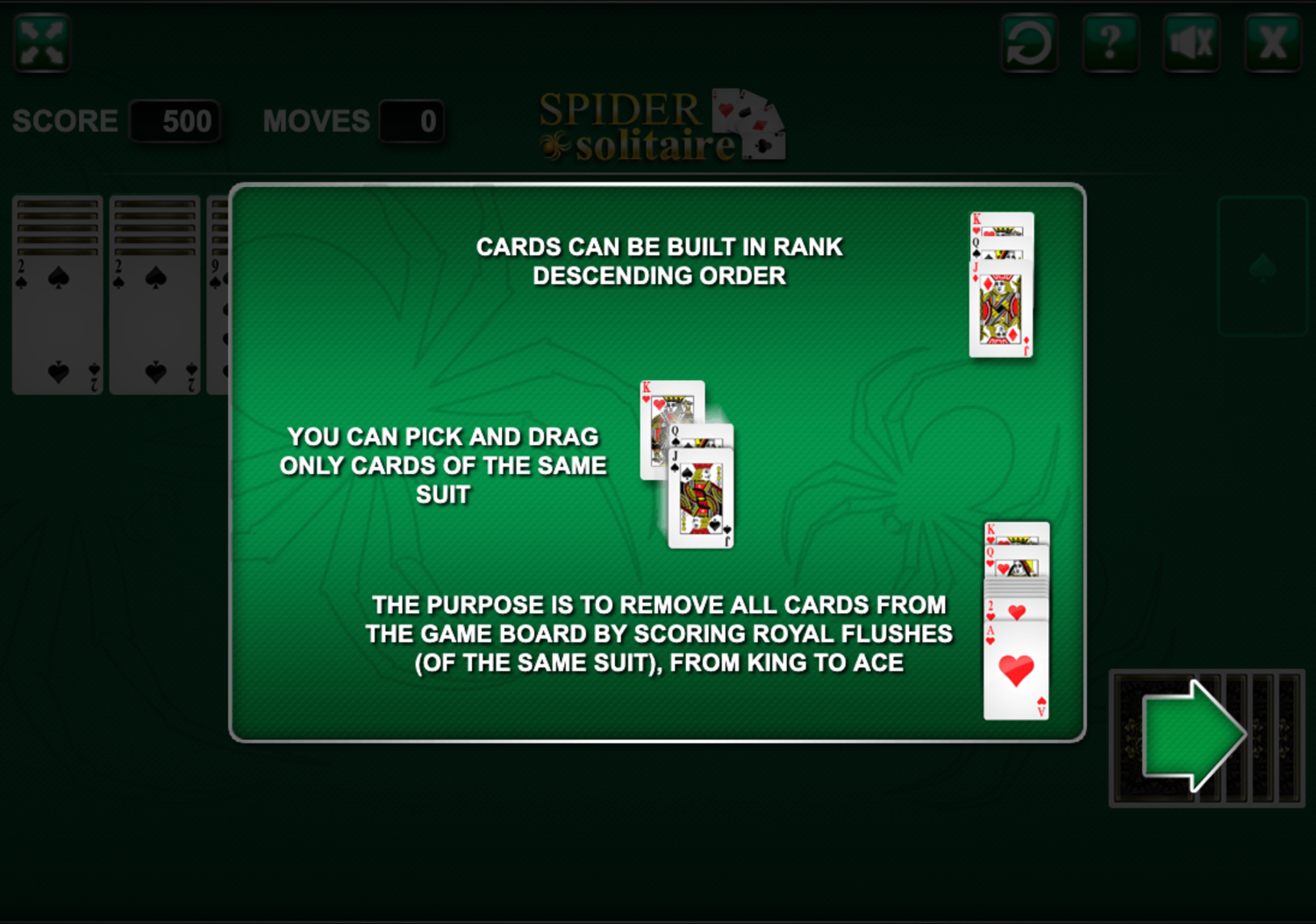 Spider Solitaire Rules Screenshot.