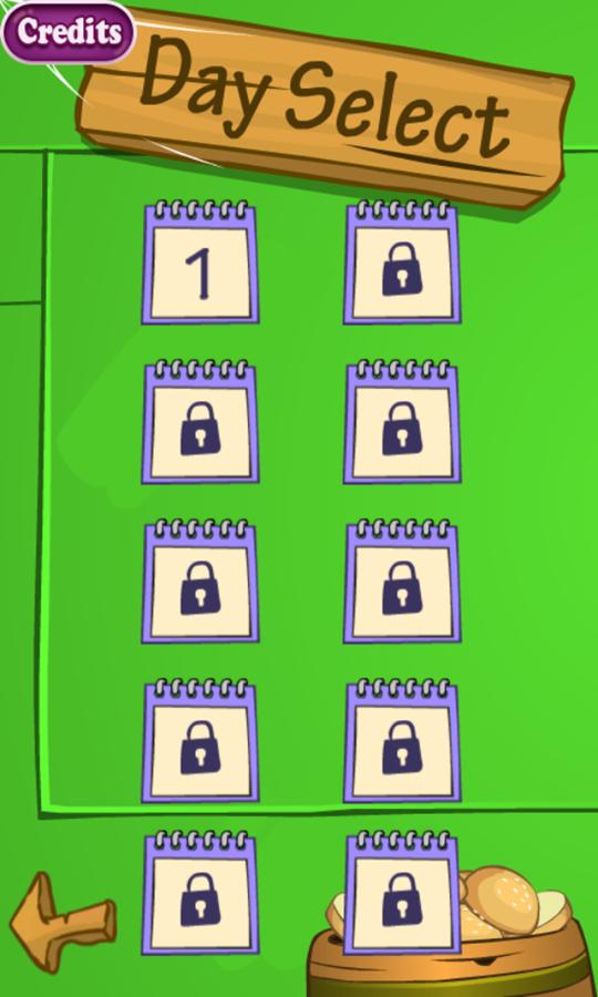 SpongeBob Restaurant Game Day Select Screenshot.