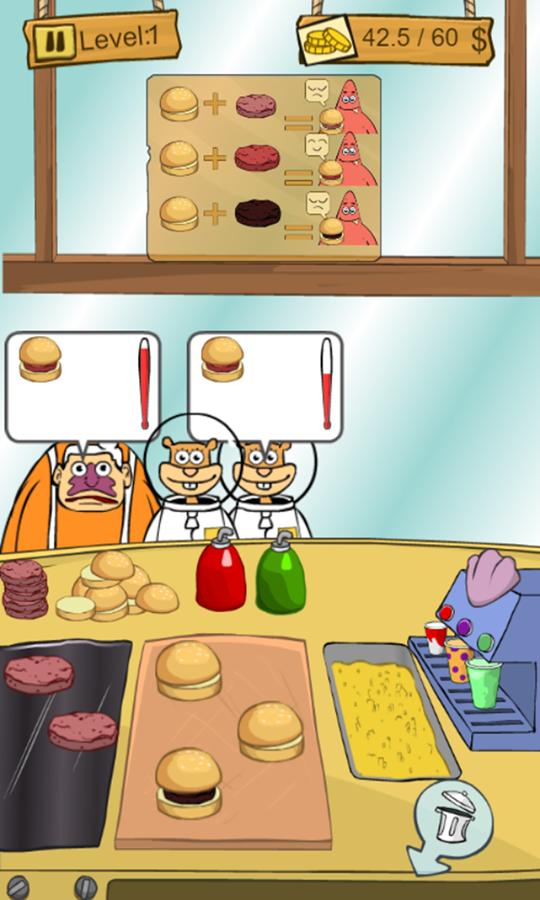SpongeBob Restaurant Game Play Screenshot.