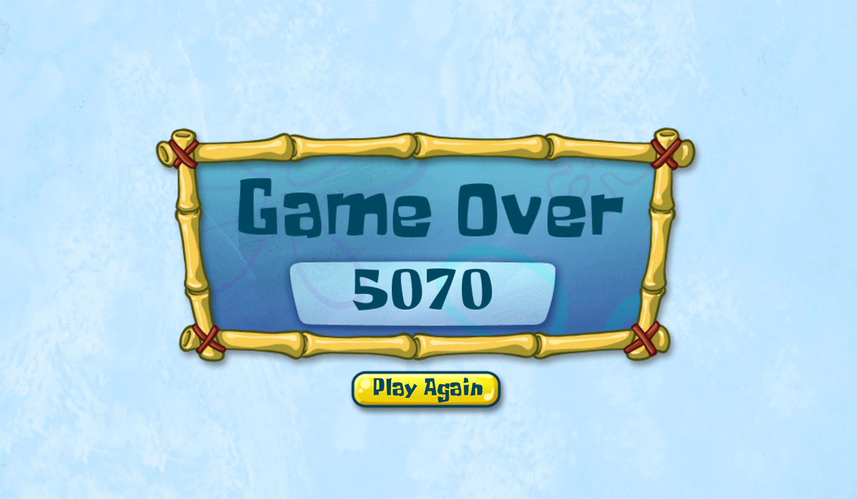 Spongebob Squarepants Fiery Tracks of Fury Game Over Screenshot.