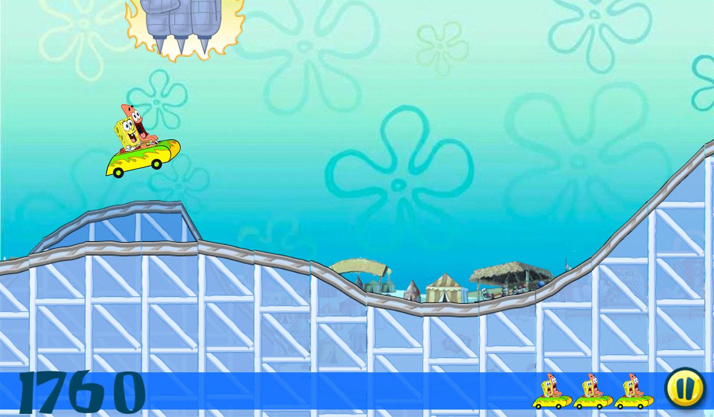 Spongebob Squarepants Fiery Tracks of Fury Game Screenshot.