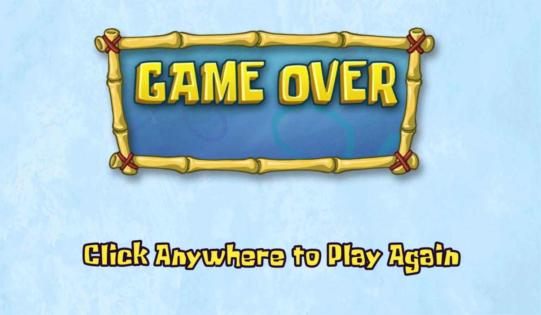 Spongebob Squarepants Toy Store Trial Game Over Screenshot.