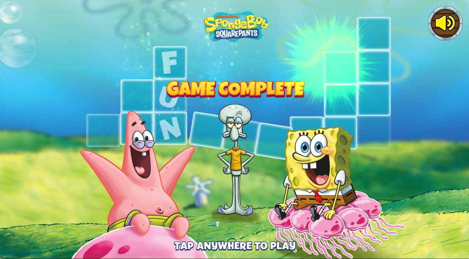 Spongebob Squarepants Word Blocks Game Complete Screenshot.