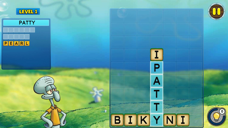 Spongebob Squarepants Word Blocks Game Screenshot.