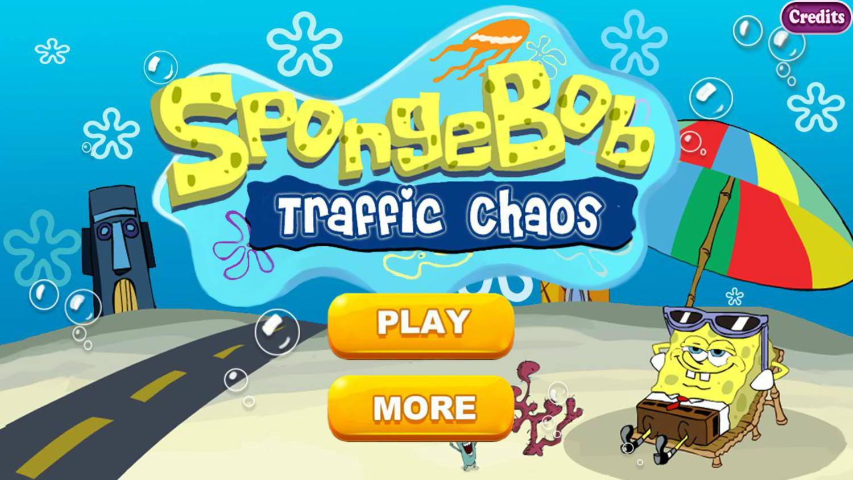 SpongeBob Traffic Control Game Welcome Screen Screenshot.