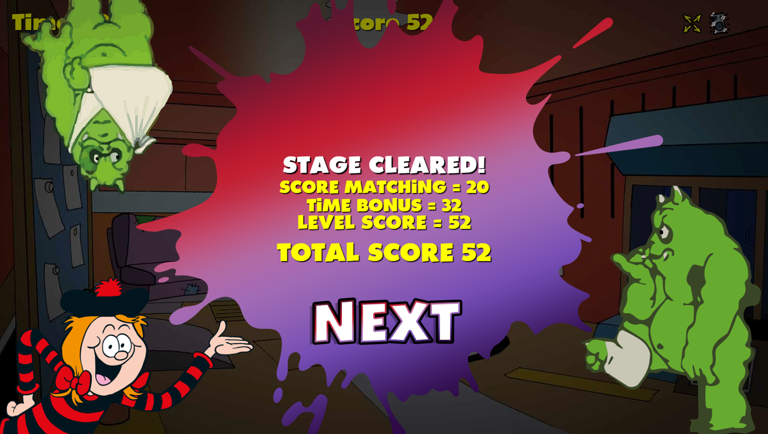 Squelchies Endgame Game Level Complete Screenshot.