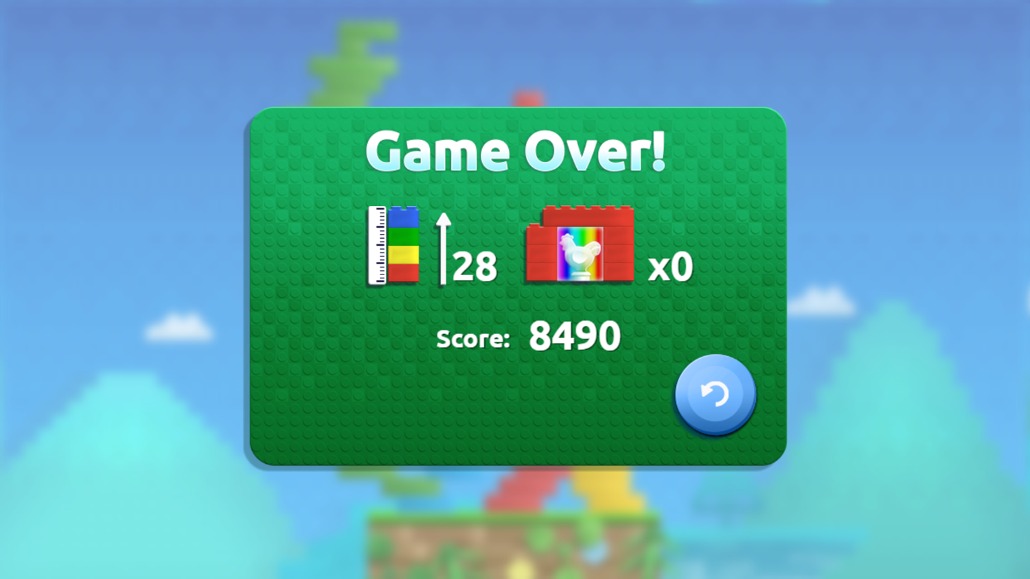 Stacky Stack Game Over Screenshot.