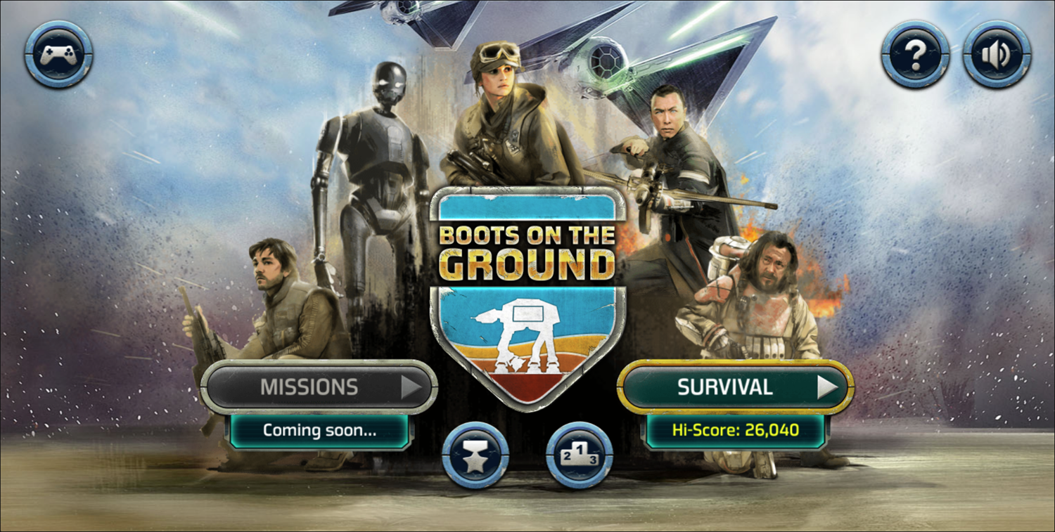 Star Wars Rogue One Boots on the Ground Welcome Screen Screenshot.
