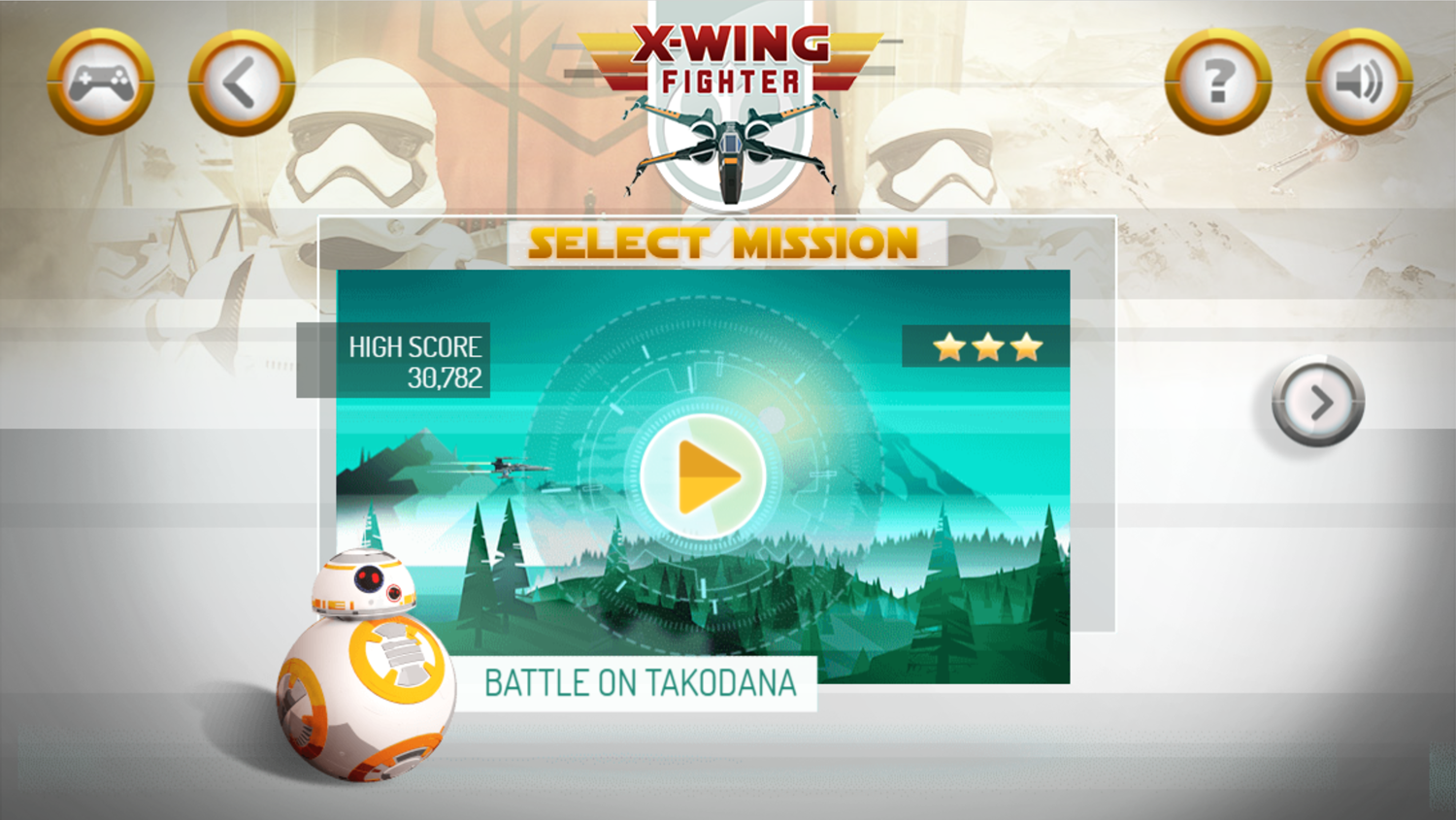 Star Wars X Wing Fighter Level Select Screenshot.