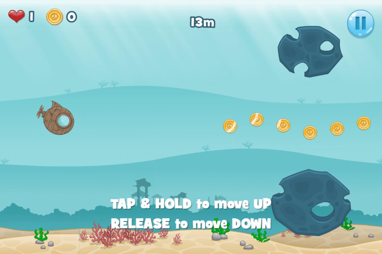 Submarine Dash Game How To Play Screenshot.