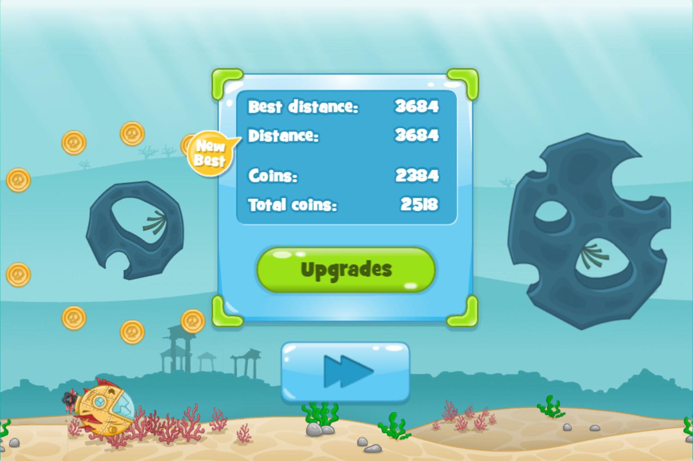 Submarine Dash Game Score Screenshot.