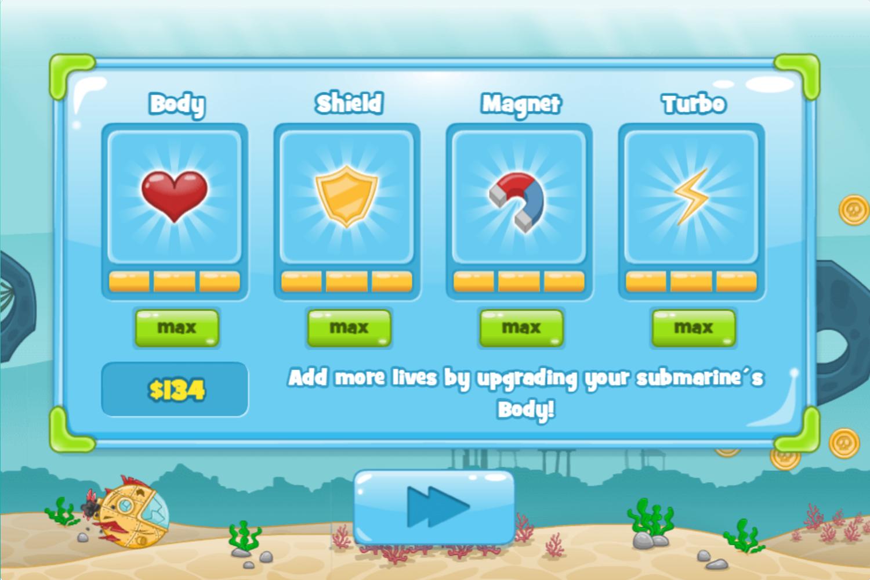 Submarine Dash Game Upgrades Complete Screenshot.