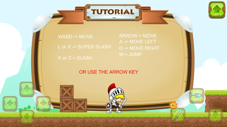 Super Knight Adventure Instructions Screenshot.