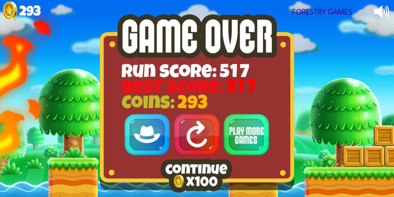 Super Mario Rush Game Over Screenshot.