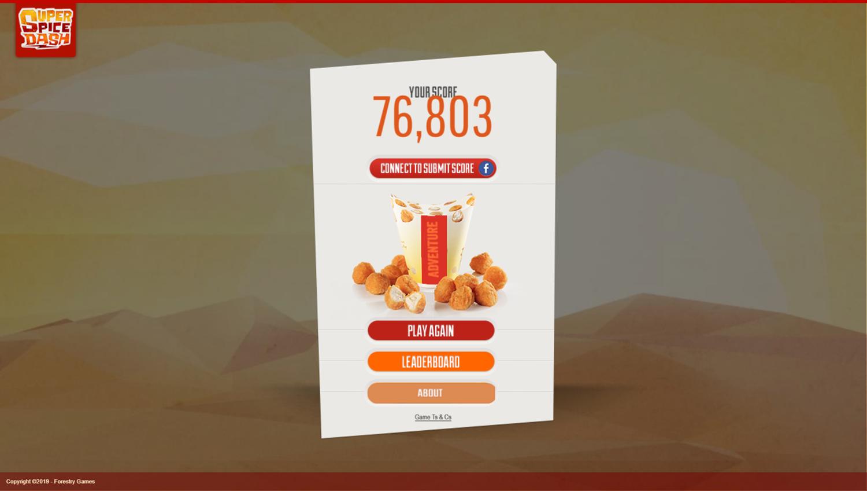 Super Spice Dash Game Score Screenshot.