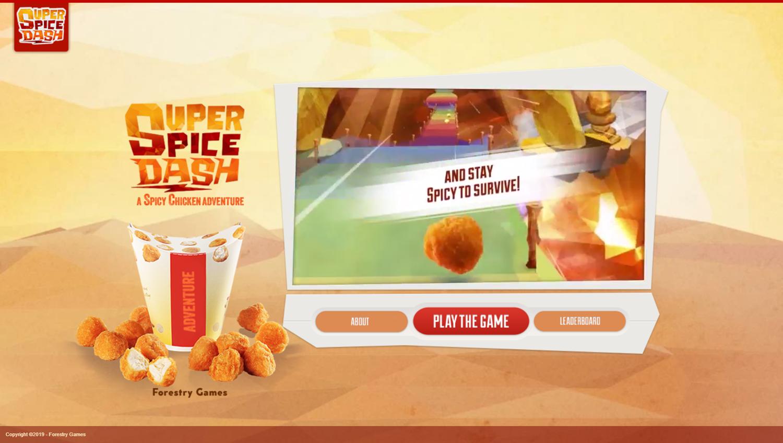 Super Spice Dash Game Welcome Screen Screenshot.