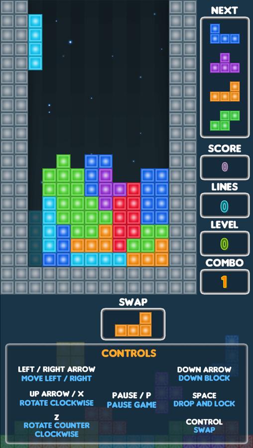 Super Tetris Game Screenshot.