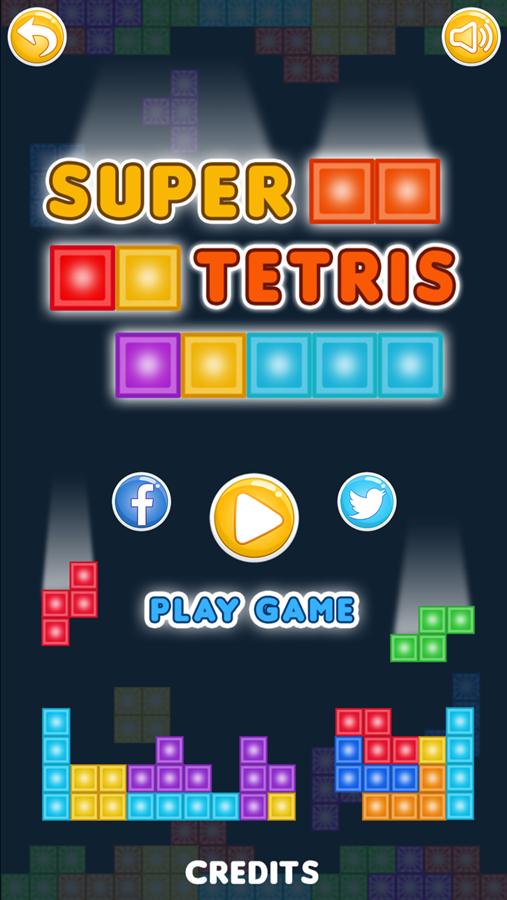Super Tetris Game Welcome Screenshot.