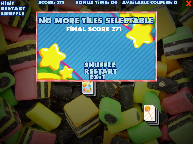 Sweety Mahjong Finish Screen Screenshot.