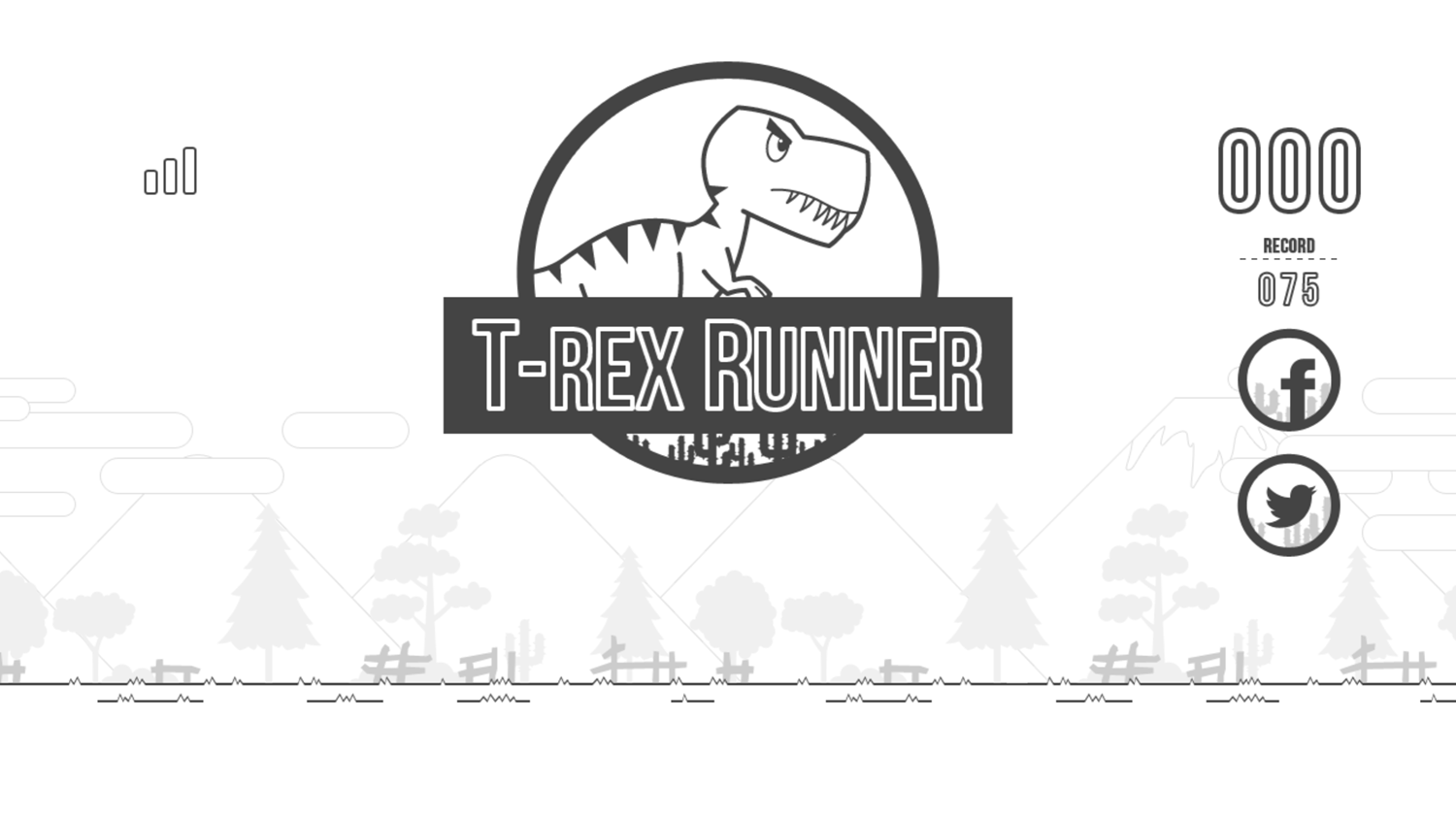 Black and White T-Rex Runner Game Welcome Screenshot.