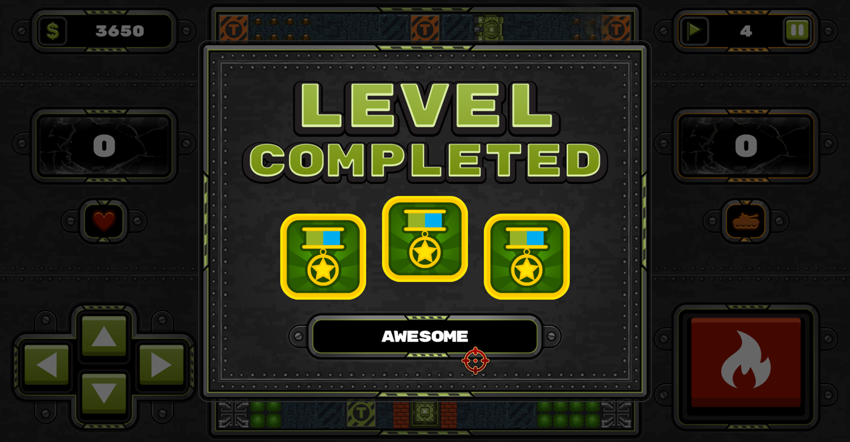 Tank Wars Level Complete Game Screenshot.