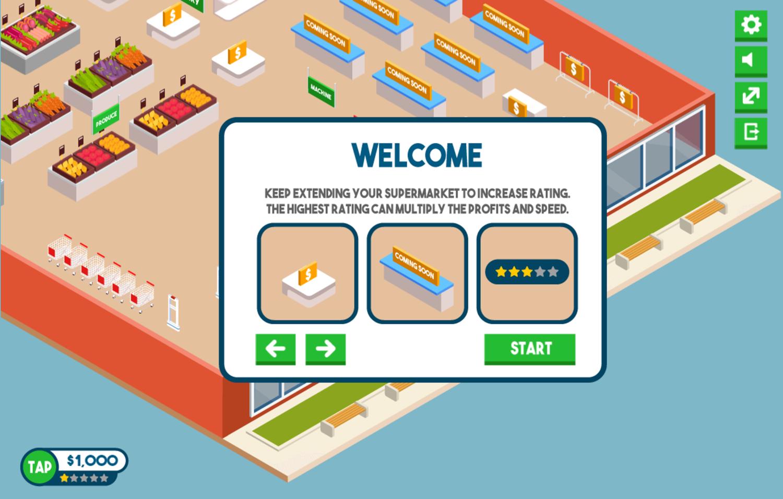 Tap Supermarket Game Instructions Screenshot.