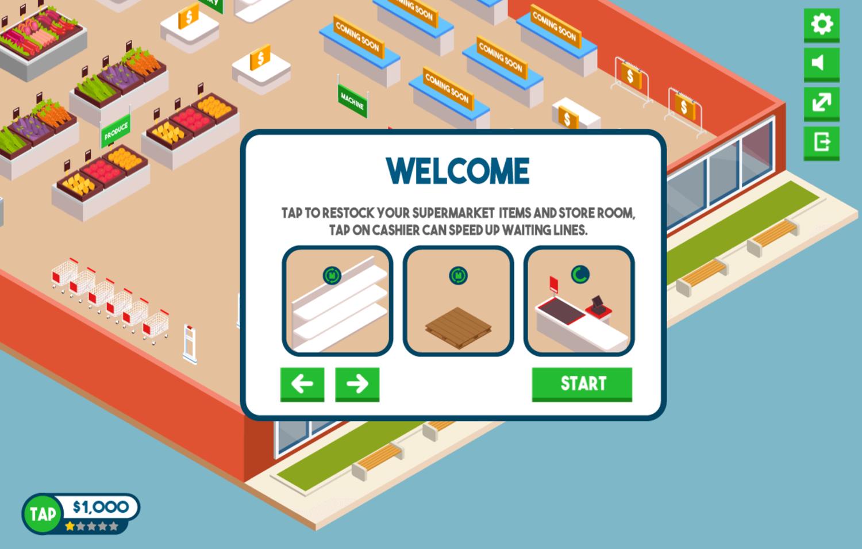 Tap Supermarket Game Screenshot.