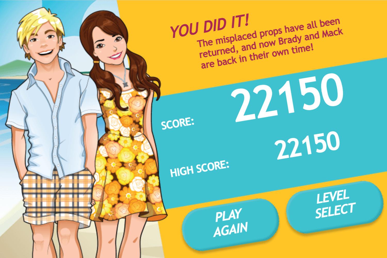 Teen Beach Movie Brady's Beach Scramble Game Beat Screen Screenshot.