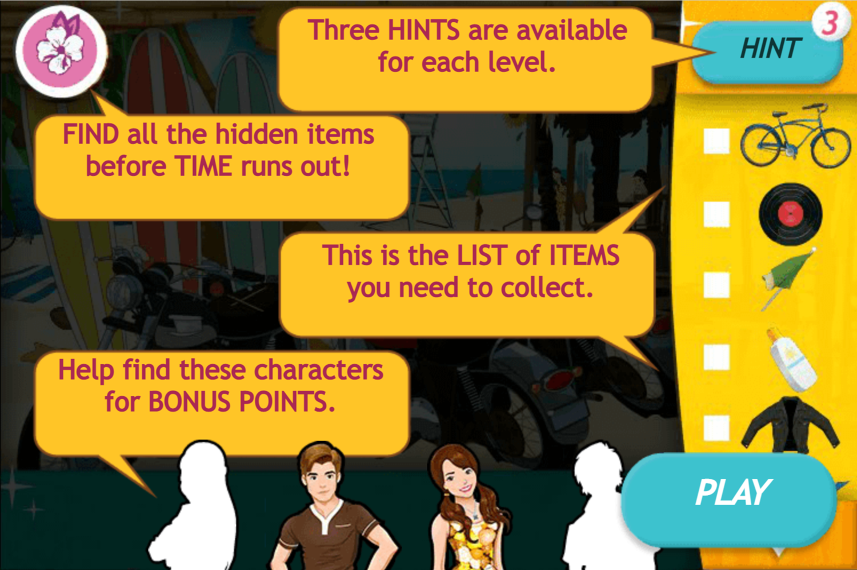 Teen Beach Movie Brady's Beach Scramble Game How to Play Screen Screenshot.