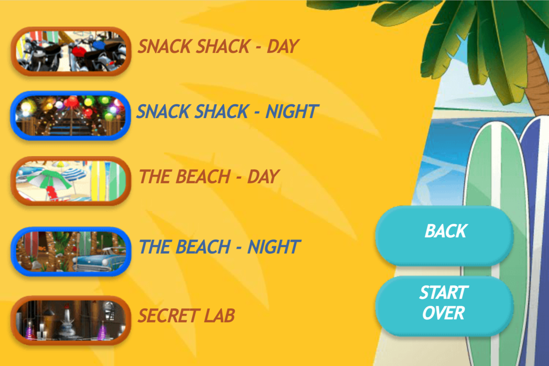 Teen Beach Movie Brady's Beach Scramble Game Level Select Screen Screenshot.