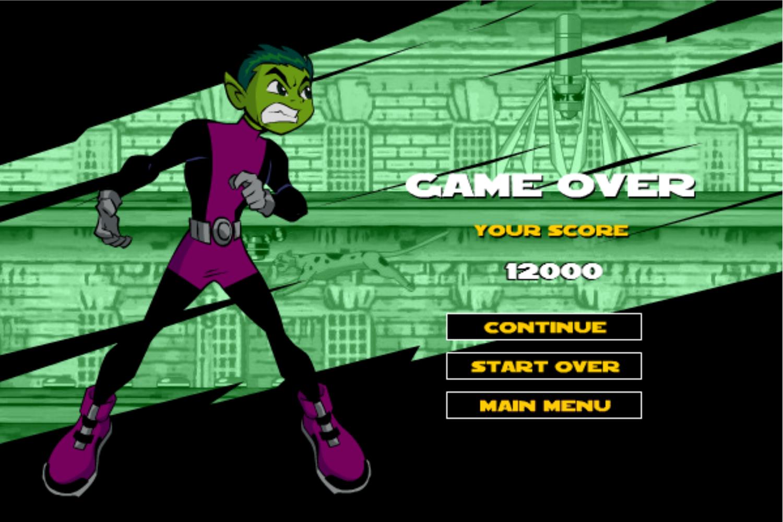 Teen Titans Go One on One Beast Boy Game Over Screen Screenshot.