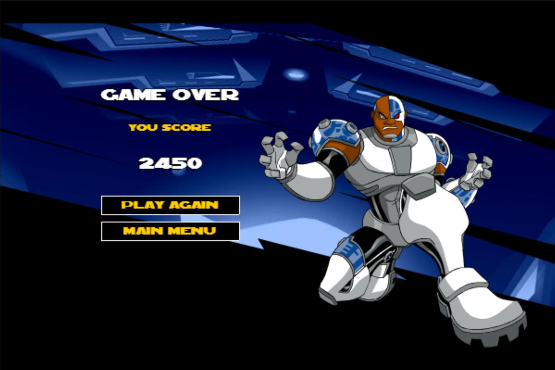 Teen Titans Go One on One Cyborg Game Over Screenshot.