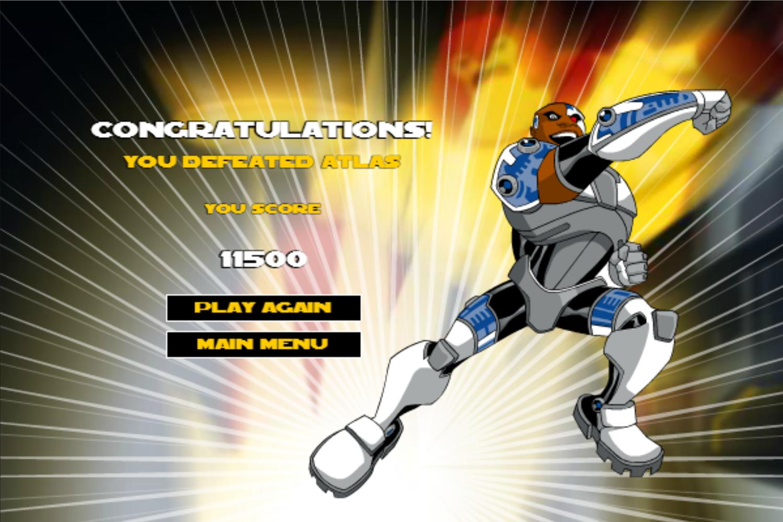 Teen Titans Go One on One Cyborg Game Won Screenshot.